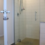 A level entry shower with a wide door