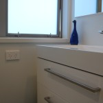 Drawers are favoured over cupboards in the bathroom